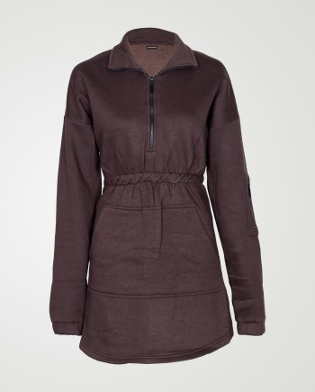 Image 1 of Womens Fleece Quarter Zip Top Dress color Brown and sizes 8,10,12,14 from Noroze