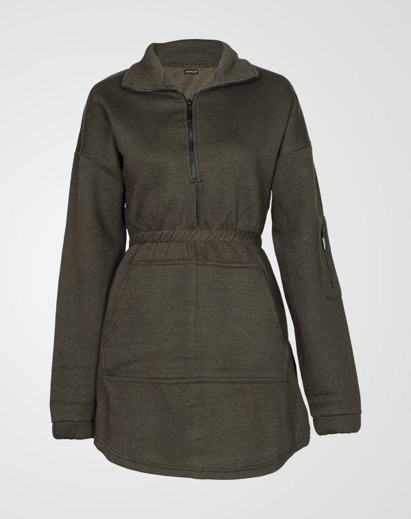 Image 1 of Womens Fleece Quarter Zip Top Dress color Green and sizes 8,10,12,14 from Noroze