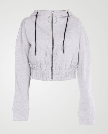 Image 1 of Womens Zipper Plain Hooded Sweatshirt color Grey and sizes S, M, L, XL from Noroze