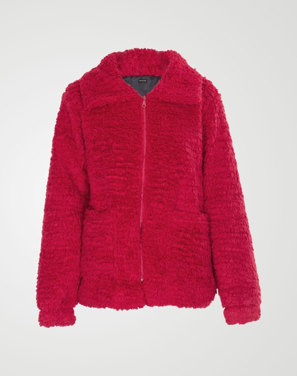 Image 1 of Womens Borg Teddy Jacket color Red and sizes 8,10,12 from Noroze