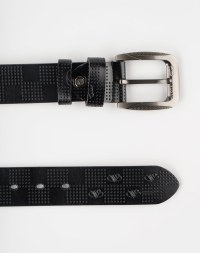Image 1 of Mens Holes Leather Belt of color Black from Noroze