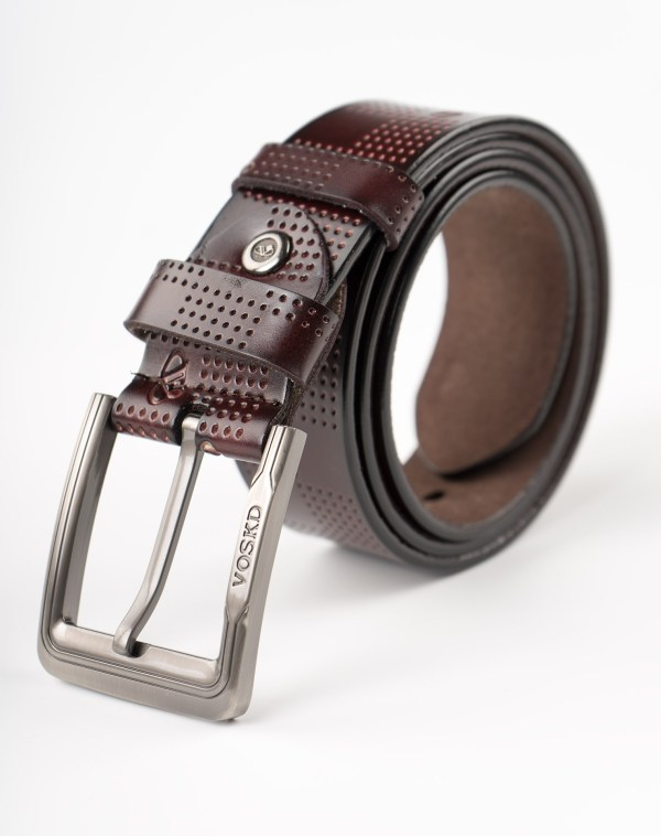 Image 1 of Men's Holes Leather Belt of color Coffee from Noroze