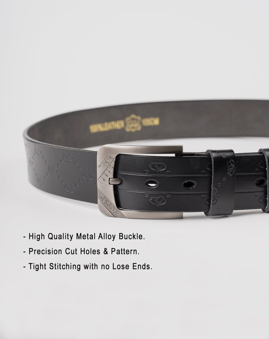 Image 4 of Mens Etched Buckle Leather Belt of color Black from Noroze