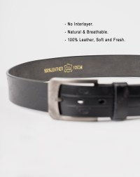 Image 5 of Mens Etched Buckle Leather Belt of color Black from Noroze