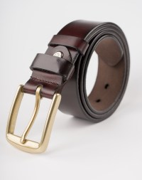 Image 1 of Mens Leather Brown Belt Golden Buckle from Noroze