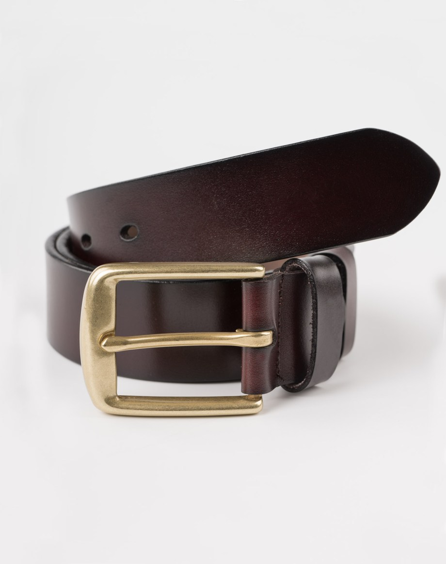 Image 2 of Mens Leather Brown Belt Golden Buckle from Noroze