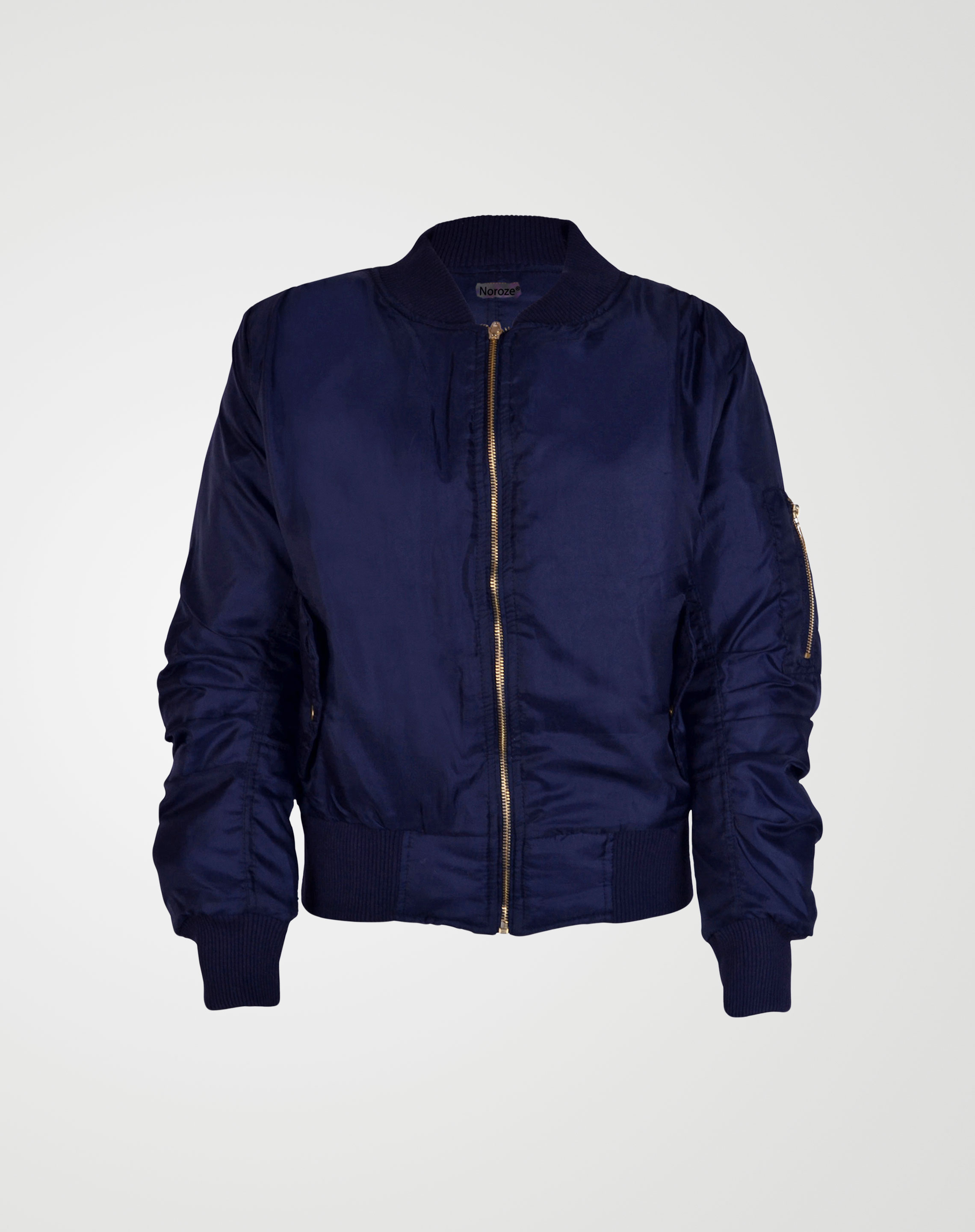Image 1 of Girls Biker Bomber Jacket color Navy and sizes 7-8, 9-10, 11-12, 13 from Noroze