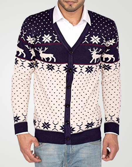 Image 1 of Mens Knitted Christmas Cardigan color Navy and sizes S, M, L, XL, 2XL from Noroze