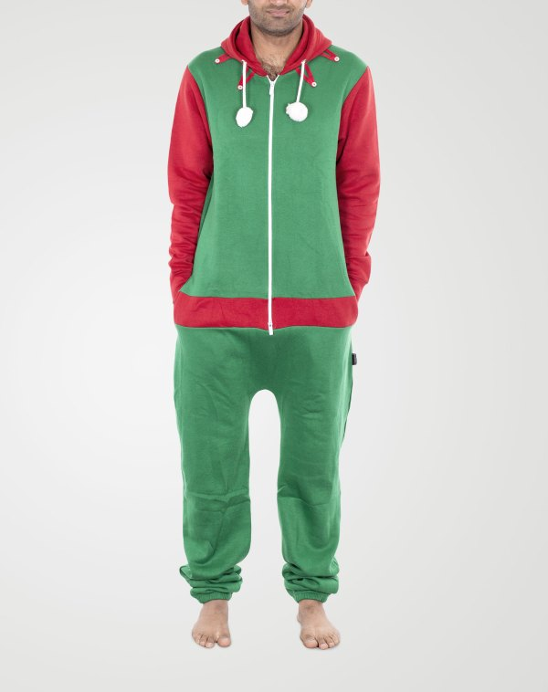 Image 1 of Mens Contrast Color Onesie color Red-Arm Green and sizes S, M, L, XL, 2XL from Noroze