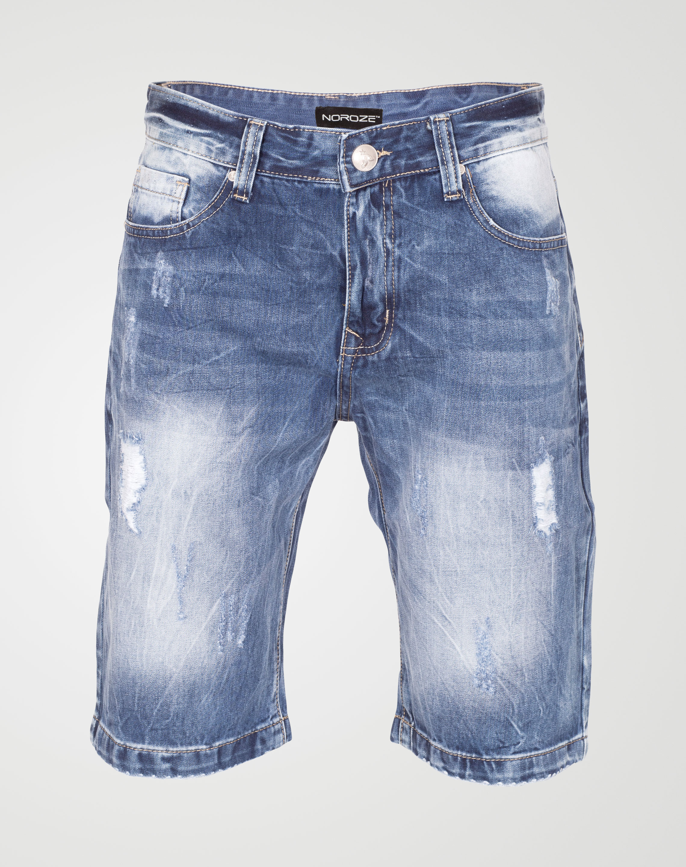 Image 1 of Mens Ripped Denim Shorts WN2438 color Blue and sizes 29, 30, 31, 32, 33, 34, 36, 38 from Noroze