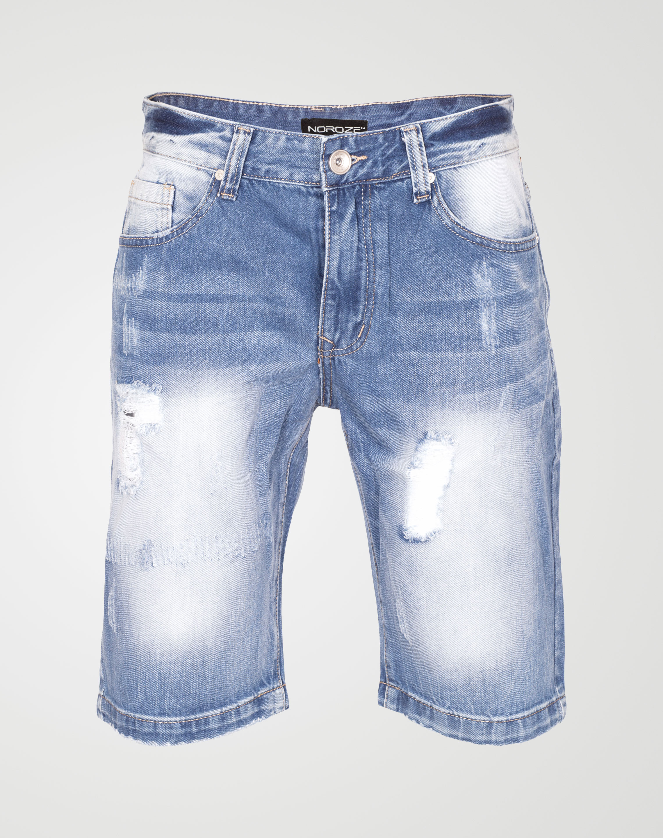 Image 1 of Mens Ripped Denim Shorts WN2441 color Blue and sizes 29, 30, 31, 32, 33, 34, 36, 38 from Noroze