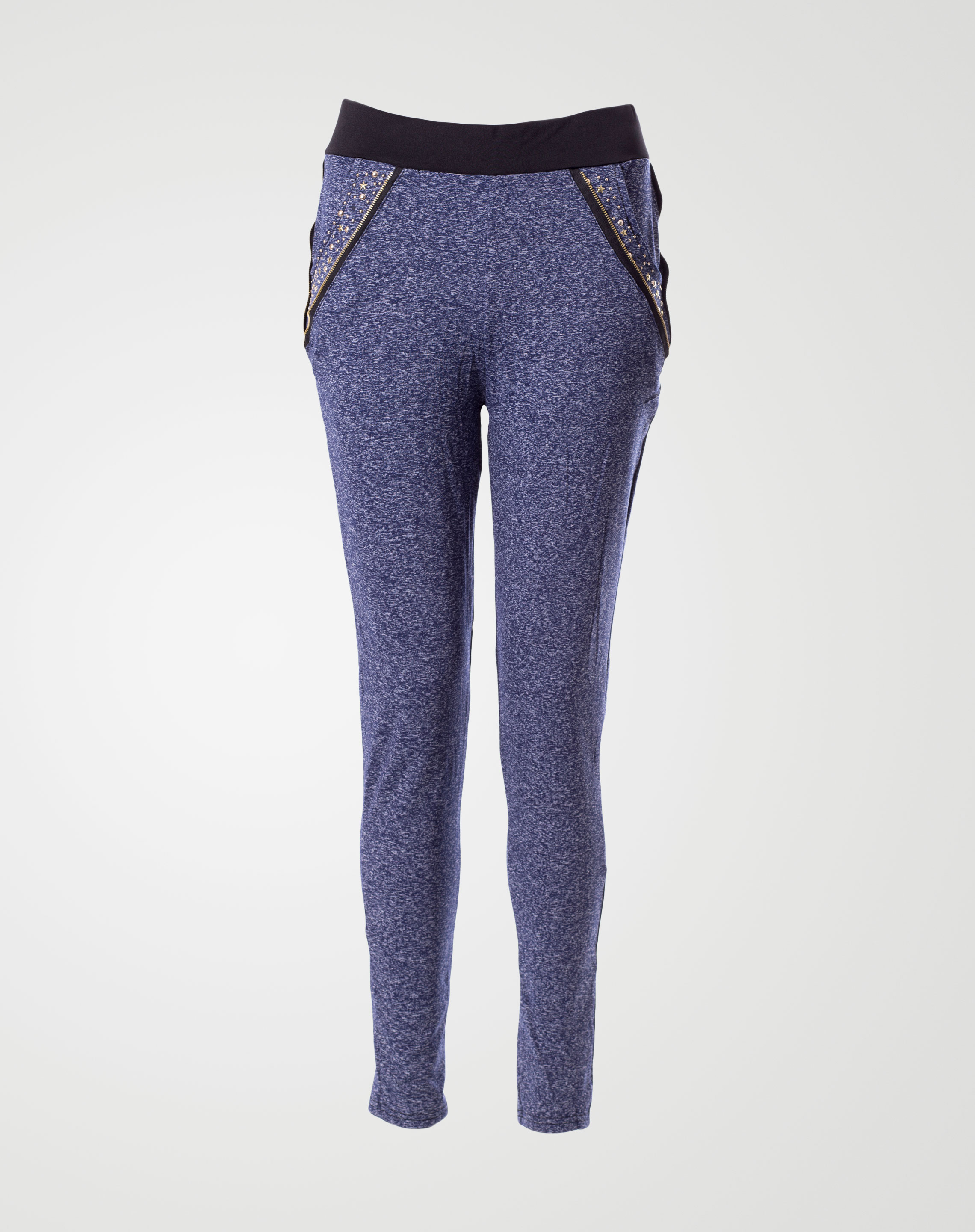Image 1 of Womens Waist Side Zips Leggings 2034 Color Blue and sizes S-M, M-L, XL-2XL from Noroze