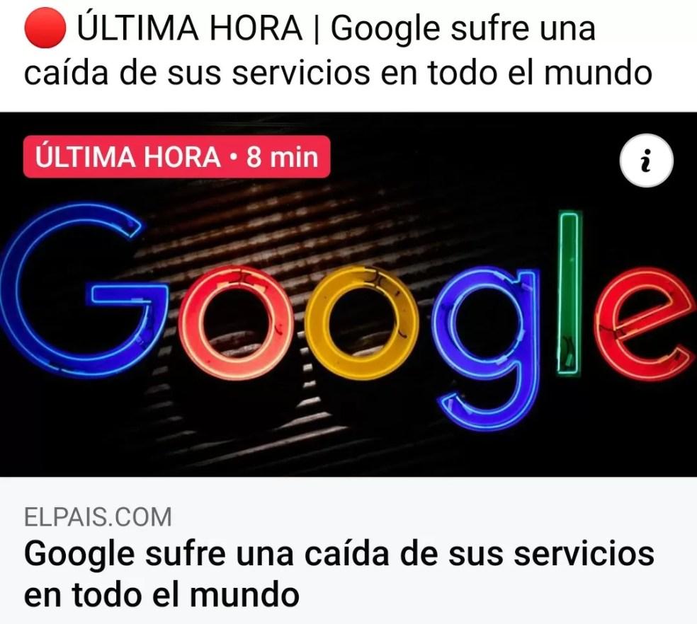 Google sufre una caída temporal de sus servicios en todo el mundo