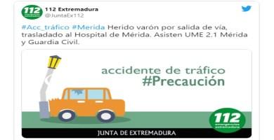 Herido grave un hombre de 50 años al salirse de la carretera cerca de Mérida