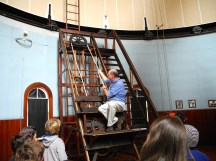 The observation chair, still adjusted with a rope pulley