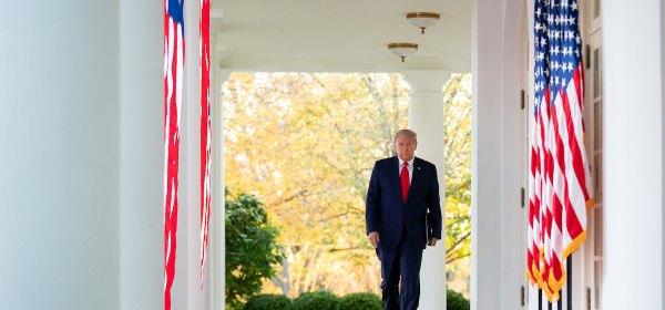 Trump Walking White House