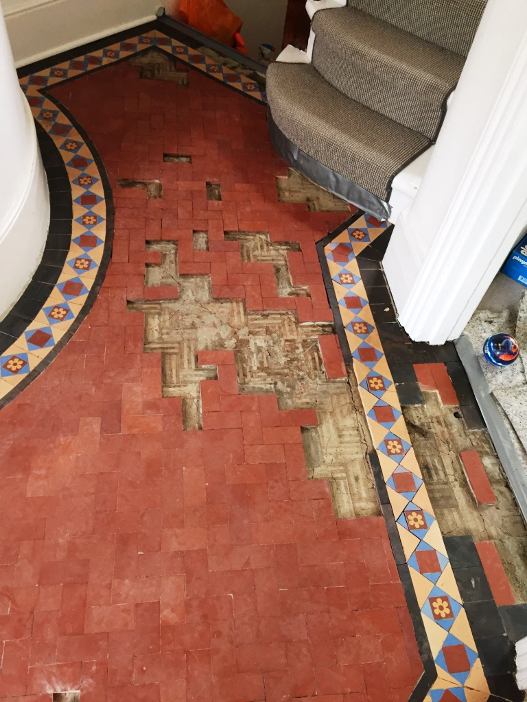 Edwardian Hallway Floor Before Restoration Crouch End