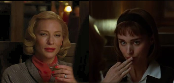 Carol (Blanchett) & Therese (Mara) at lunch
