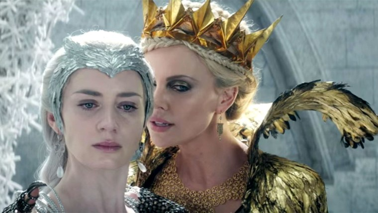 Queen Freya AKA The Ice Queen (Emily Blunt) and The Evil Queen (Charlize Theron) (Universal Pictures, The Huntsman: Winter's War)