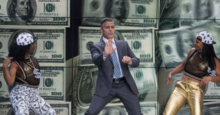 Lee Gates (Clooney) is pretty much a performing monkey. (Money Monster, Sony Pictures Entertainment)
