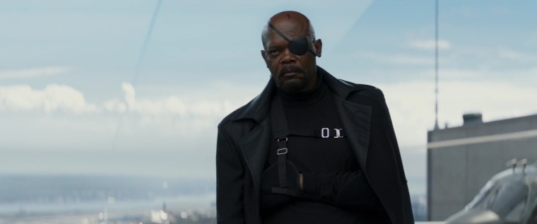 Director Fury (Jackson) is not a happy bunny (Captain America: The Winter Soldier, Marvel Studios)