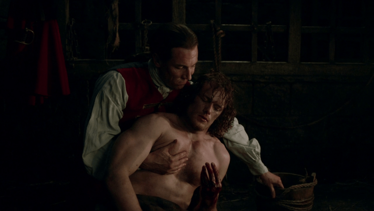 """To Ransom A Man's Soul"" isn't for the fainthearted. Black Jack (Menzies) and Jamie (Heughan) give their performances of the season (Outlander, Starz)"