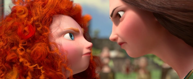 Merida (Kelly Macdonald) & Elinor (Emma Thompson) from the animated movie (Brave, Walt Disney Pictures)