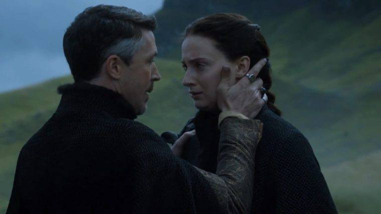 """There's no justice in this world. Not unless we make it"" says Littlefinger (Aiden Gillen) to Sansa Stark (Sophie Turner) (Game Of Thrones, HBO)"