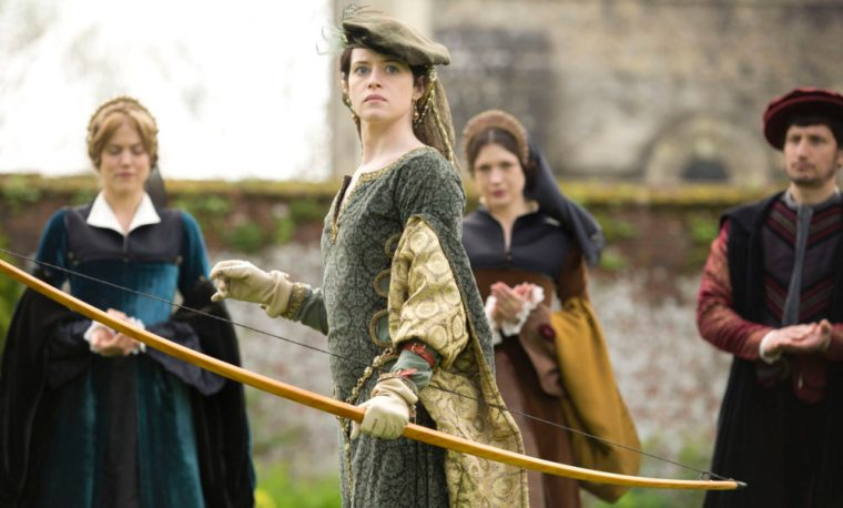 Mary Boleyn () with Anne Boleyn (Claire Foy) in Wolf Hall (Wolf Hall, BBC Two)