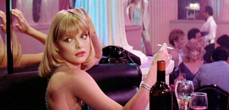 Michelle Pfeiffer's Elvira Hancock in De Palma's Scarface (Scarface, Universal Pictures)