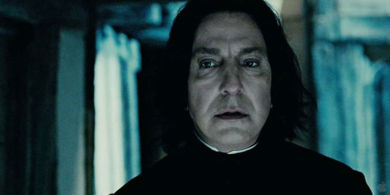 The late Alan Rickman's Snape in Harry Potter ANd The Deathly Hallows Part 2 (Harry Potter And The Deathly HJallows Part 2, Warner Bros.)