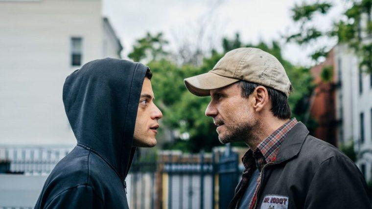 Elliot Alderson (Rami Malek) and his internal voice, Mr Robot (Christian Slater) (Mr Robot, USA Network)