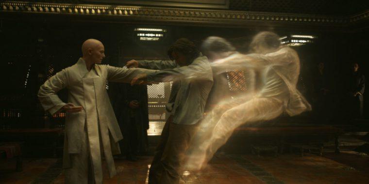 The Ancient One (Tilda Swinton) giving Strange (Cumberbatch) a wakeup call (Doctor Strange, Marvel Studios)