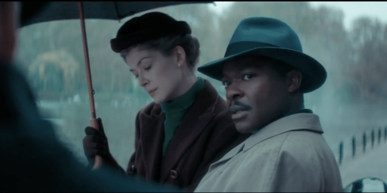 David Oyelowo and Rosamund Pike in forties period dress (A United Kingdom, BBC Films)