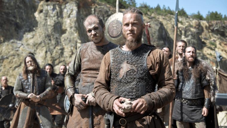 Floki (Gustaf Skarsgard) and King Ragnar Lothbrok (Travis Fimmel) in Vikings  (Vikings, History Channel)