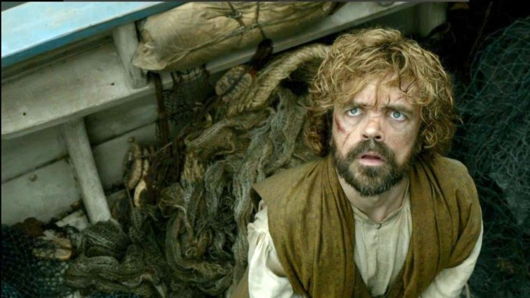 Tyrion Lannister (Peter Dinklage) on the boat to the Free Cities (Game Of Thrones, HBO)