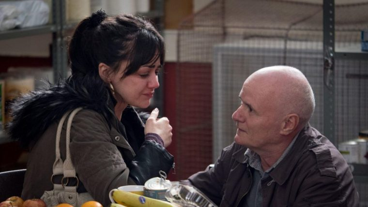 Daniel Blake (Johns) and Katie (Squires) at the food back...truly soul-destroying  (I, Daniel Blake, British Film Institute)