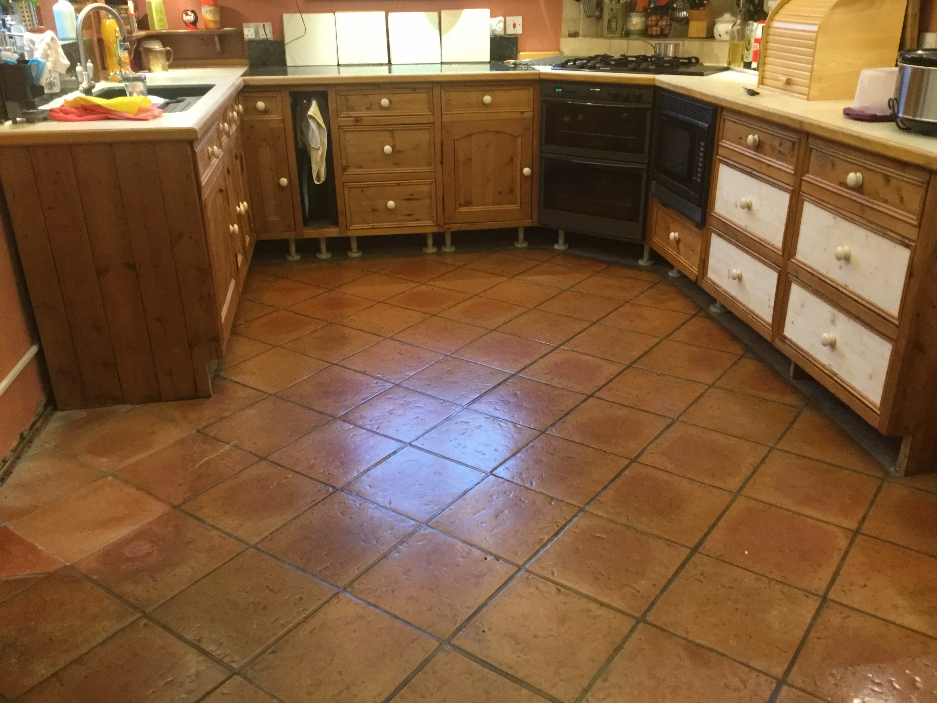 Terracotta Tiled Kitchen Floor Before Cleaning Maidford