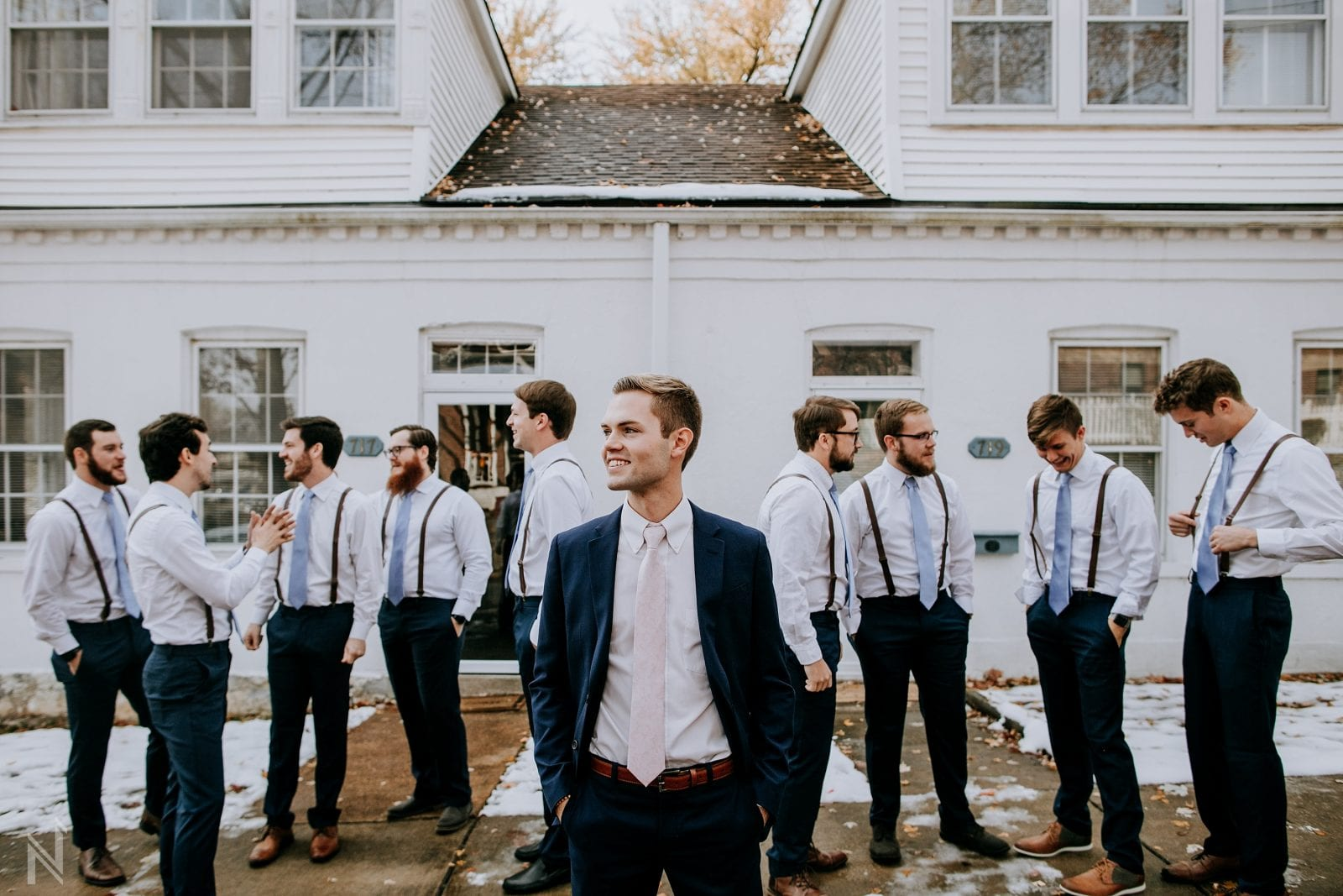 groomsmen photos at st. charles airbnb in missouri