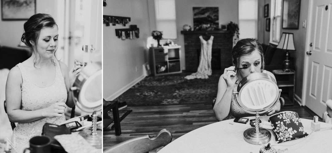 bride doing her makeup at home in St. Louis before her wedding