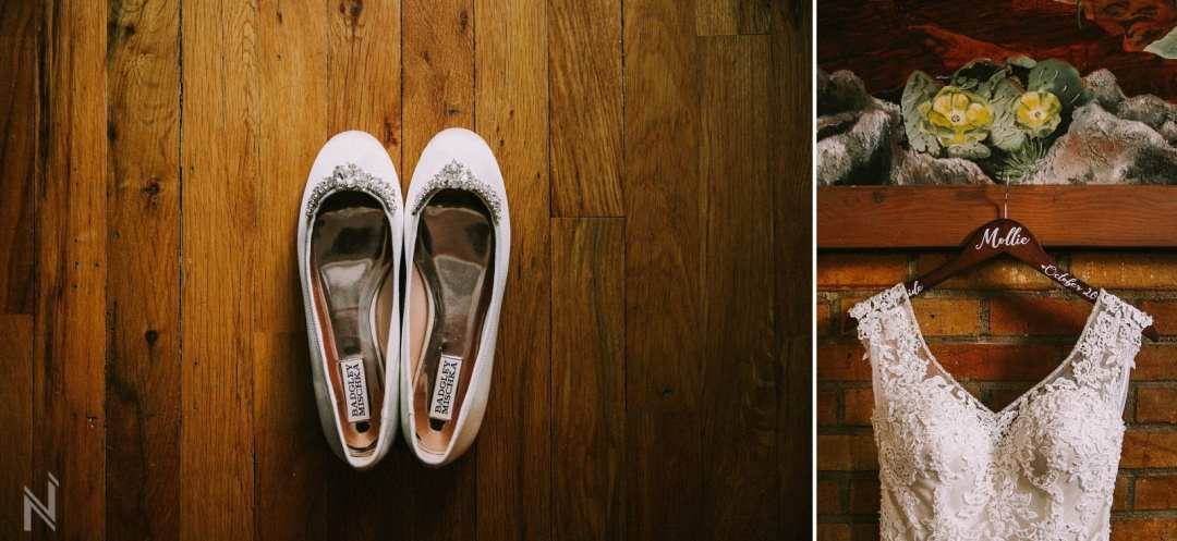 Brides crystal flats and lace wedding gown