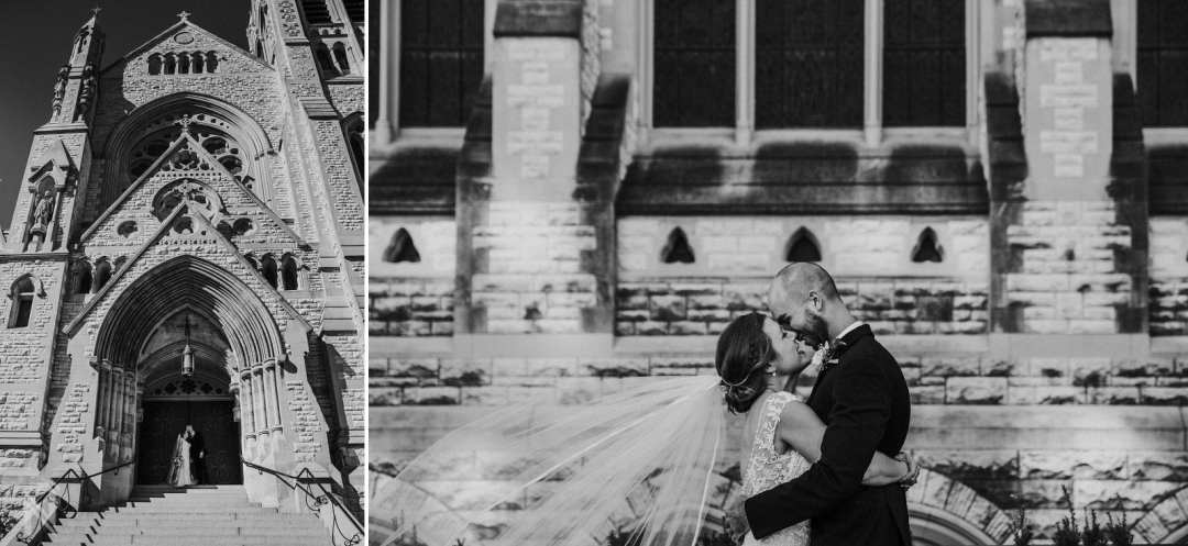 Bride and Groom getting photographed after Wedding at St. Francis Xavier Church in St. Louis, MO