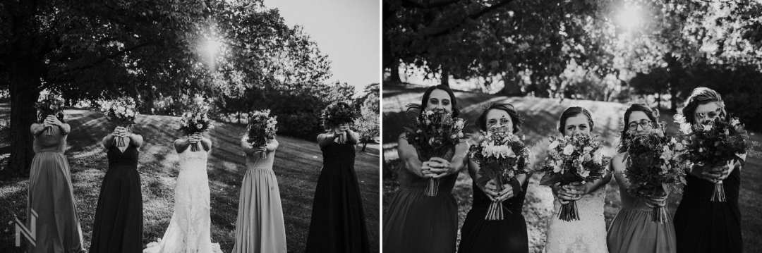 Bridal party showing their individual unique wedding bouquets