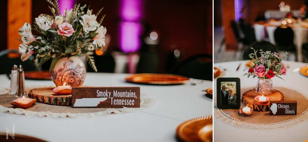 Wedding Reception with handcrafted details and temporary tattoos at Beyond Broadway in St. Louis