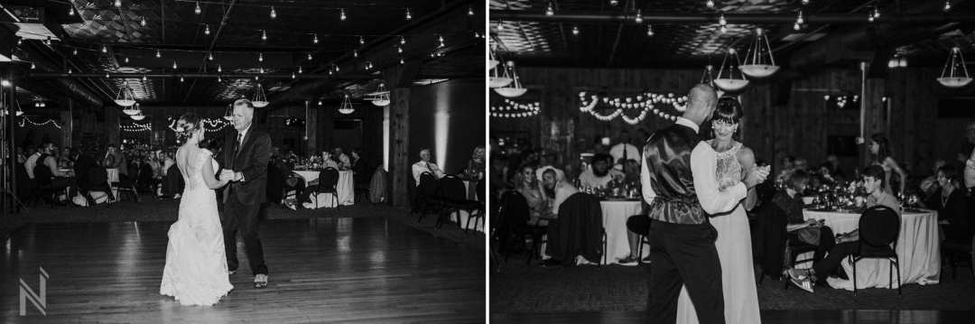 Off Broadway Reception Venue wedding reception dancing with bride and groom