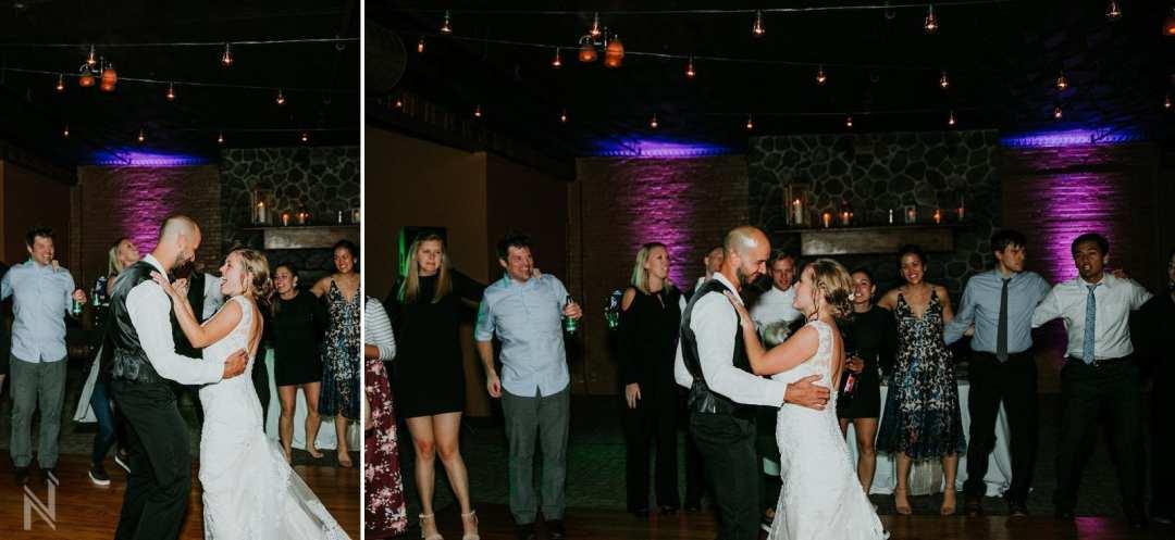 Off Broadway Reception Venue wedding reception dancing with bride and groom