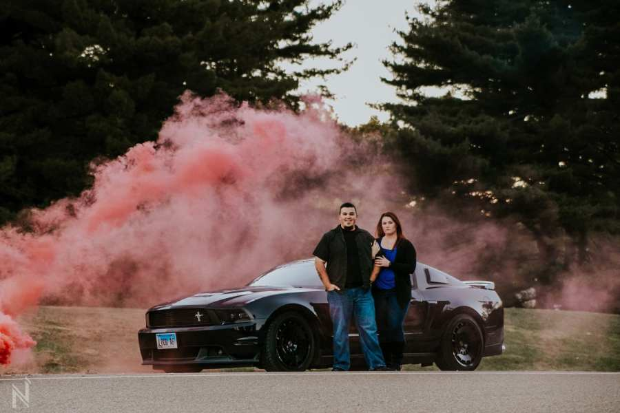 Edwardsville, Illinois smoke bomb mustang engagement session at SIUE Gardens