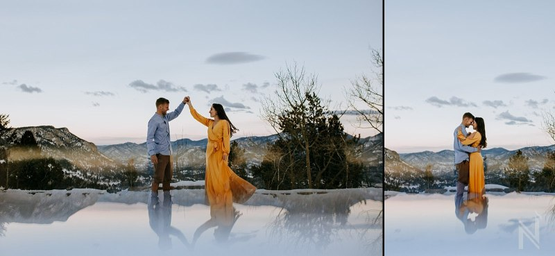 Rocky Mountain National Park and Estes Park Engagement Photography with snow and flowy yellow dress