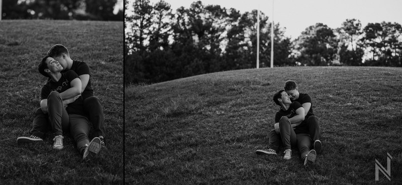 Authentic + Fun Same Sex Engagement session at Raleigh, NC Rugby Field