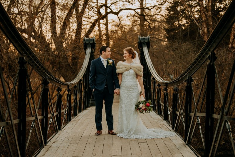 St. Louis Winter Wedding Photography at Iron Bridge in Forest Park